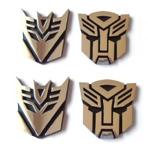 Transformers Autobot and Decepticon Chrome Emblem 2 x 8.5cm plus 2 x 9.5cm  SET OF FOUR